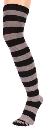 (Black/Grey Striped Over The Knee Toe Socks by Toe Toe )