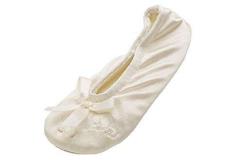 Isotoner Satin Pearl Ballerina Girls Slippers