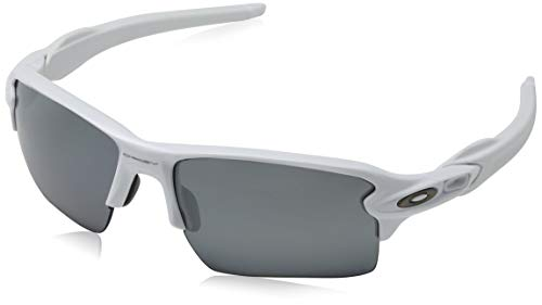 Oakley Men's Flak 2.0 XL Rectangular Sunglasses Polarized, Polished White, 59 mm