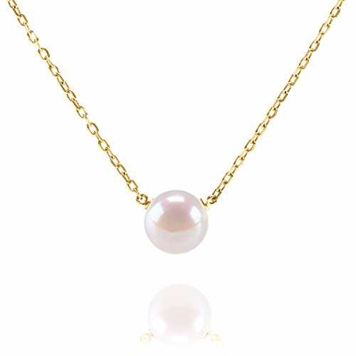 (PAVOI Handpicked AAA+ Freshwater Cultured Single Pearl Necklace Pendant | Yellow Gold Necklaces for Women)