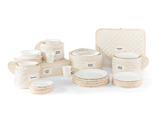 Piece China 6 Storage (Covermates – 6 Piece Dish and Cup Storage Set 6 PIECE SET – Diamond Collection – 2 YR Warranty – Year Around Protection - Cream)