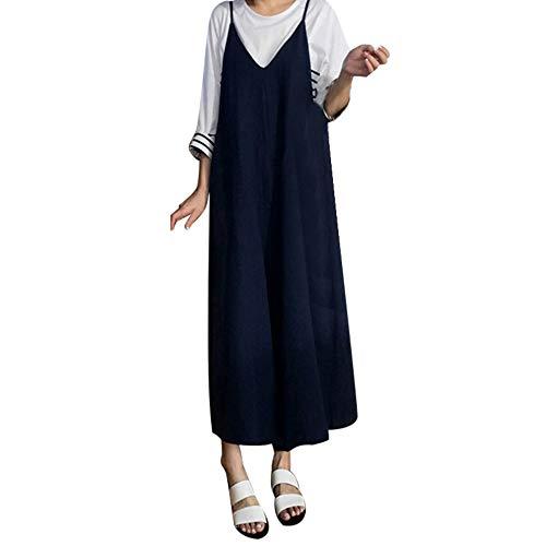 - Orangeskycn Plus Size Womens Cotton Linen Overall Jumpsuit Baggy Wide Leg Pants Navy