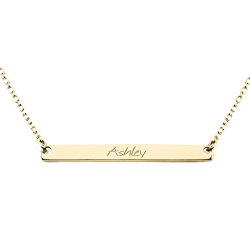 14K Yellow Gold Classic Narrow Name Bar Pendant with a 16