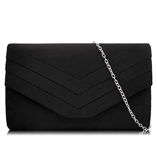 Milisente Women Clutches Velvet Envelope Evening Bag Classic Clutch Purse (N Black)