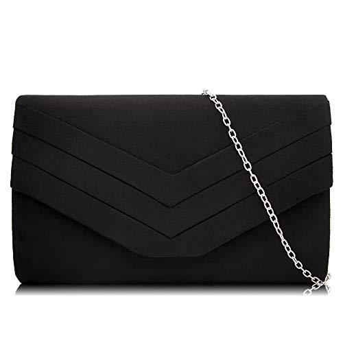 Milisente Clutch Purses for Women Velvet Envelope Evening Bags Classic Shoulder Clutch Purse (Black) by Milisente (Image #7)