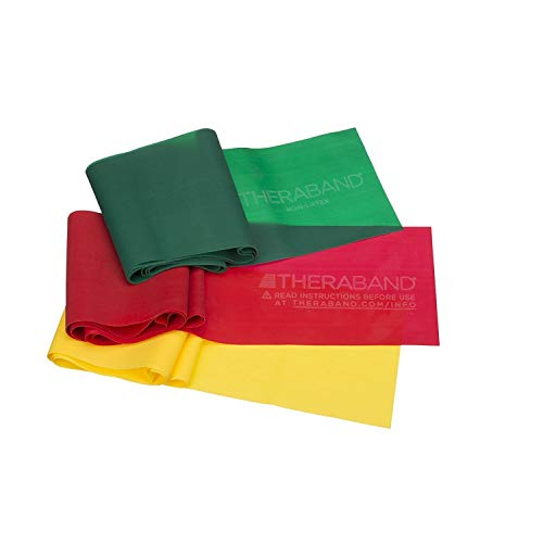 TheraBand Resistance Band Set, Professional Latex Elastic Bands for Upper & Lower Body, Core Exercise, Physical Therapy, Lower Pilates, At-Home Workouts, & Rehab, 5 Foot, Yellow, Red & Green, Beginner