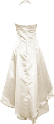 Satin Halter Dress Prom Bridesmaid Holiday Junior Plus Size, XL, Ivory