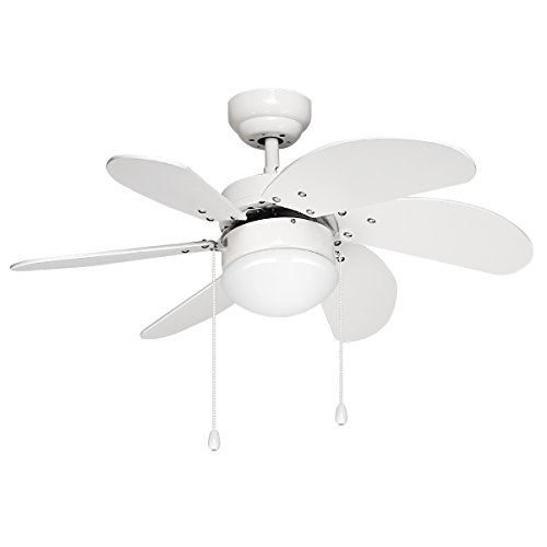 Le 30 Inch Ceiling Fan With 6 Wooden Blades And Light Kit