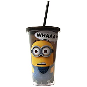 Silver Buffalo DM05087 Despicable Me Minion Whaaa?! Cold Cup with Lid and Straw, 16-Ounces