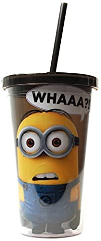Silver Buffalo DM05087 Despicable Me Minion Whaaa?! Cold Cup with Lid and Straw, 16-Ounces - Silver Travel Tumbler