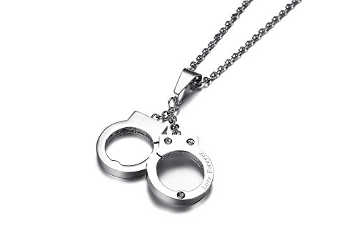 PJ Jewelry Unisex Stainless Steel Engraved Love Forever Handcuffs Pendant Necklace with 20'' Chain by PJ Jewelry (Image #2)'