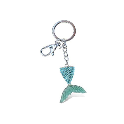 Aqua79 Crystal Charm Keychain, Rhinestone Silver Women Key Ring - Mermaid Tail