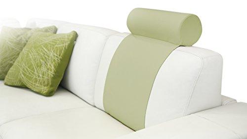 Beige Coimbra Appuie-tête pour canapé avec revêtement en Tissu Similicuir et Double Bande à Mettre Devant et derrière Le Coussin du canapé, 45 x Ø 15 cm, Bande de 70 x 42 cm