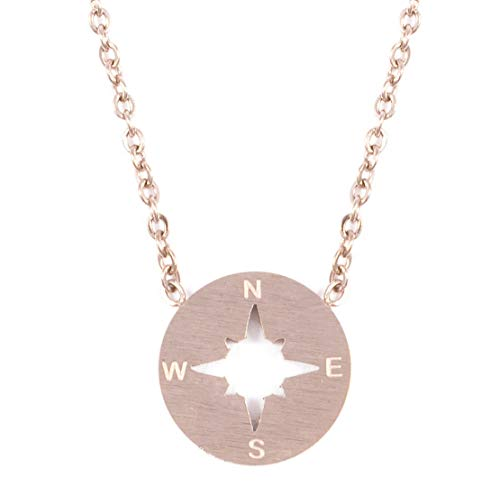 - Happiness Boutique Compass Necklace Rose Gold | Delicate Necklace with Compass Pendant Minimalist Jewelry Stainless Steel