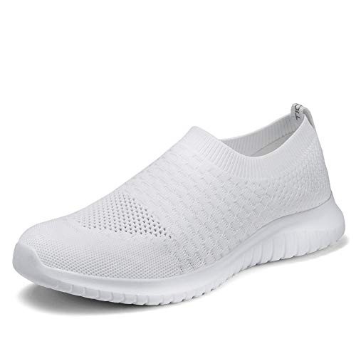 TIOSEBON Women's Walking Shoes Lightweight Breathable Flyknit Yoga Travel Sneakers 8.5 US All White