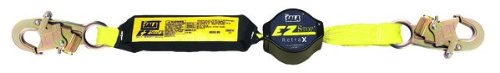 3M DBI-SALA 1241460 Shock Absorbing Lanyard, 6' Single-Leg Retractable Web and Snap Hooks At Each End, Navy/Yellow