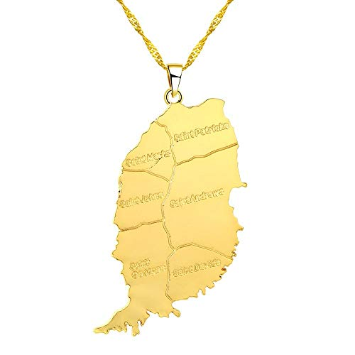 Gimax CHENHXUN Gold Color Big Size Grenada Island Map Pendant Chain Necklaces for Women Men Fashion Jewelry Gifts Choker Necklace