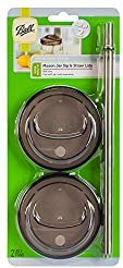 Ball 4-Piece Sip & Straw Lids Set for Wide Mouth Mason Jars | Grey | (2-Lids and 2-Straws) ()