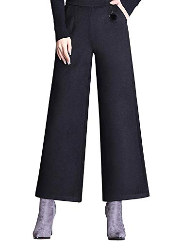 AUSZOSLT Women's Winter Wide Leg Wool-Blend Straight-Fit Palazzo Pants Black ()