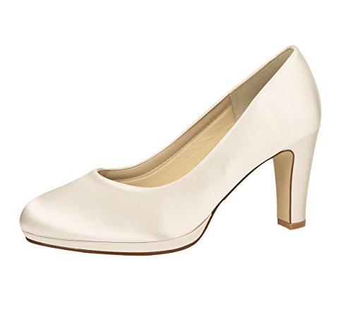 Elsa Coloured Shoes - Zapatos de vestir de Satén para mujer Blanco blanco marfil 38.5 Blanco - blanco marfil