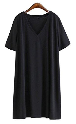 タバコ図ペパーミントFoncaz レディース ロング tシャツ 半袖 無地 vネックミニ ワンピース ドレス 綿 ルームウェア ゆったり カジュアル シンプル おおきいサイズ