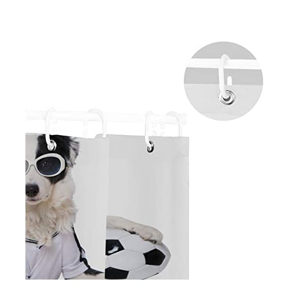 Top Carpenter Border Collie in Soccer Outfit Bath Shower Curtain Liners - 72x72in - 100% Polyester - Waterproof with C-Shaped Curtain Hook Modern Bathroom Decoration 1 Panel 5