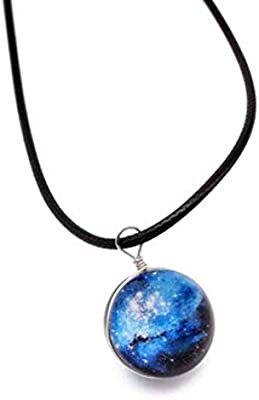 Transparent Glass Ball Pendant Necklace Gift Jewelry Handmade Fantasy Sky Universe Pendant Glow in The Dark Luminous Necklace