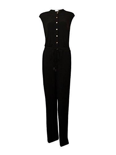 Calvin Klein Women's Button Down Jumpsuit, Black, 10