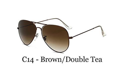 Pilot Sunglasses Men Gradient Optical Glass Lens Sun Glasses For Women Aviation Alloy Frame ()