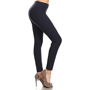 Leggings Depot Ultra Soft Basic Solid Plain Best Seller Leggings Pants -NEW COLORS AVAILABLE!!- Carry 1000+ Print Designs (3X-5X, Navy)