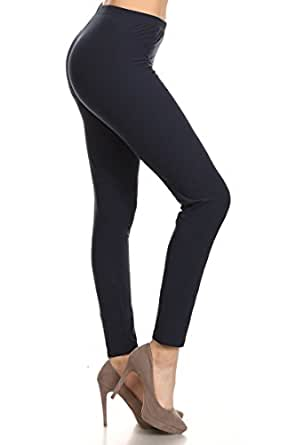 Leggings Depot REG/PLUS Women's Best Selling Buttery Soft Popular Prints BAT13 (Plus Size (Size 12-24), Solid Navy)