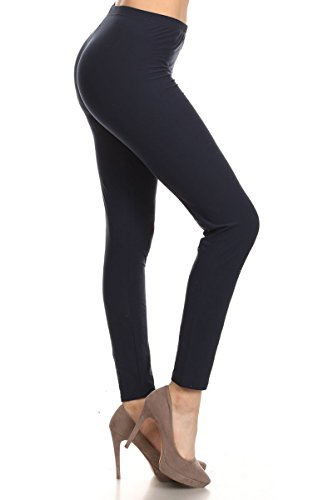 Solid Color Leggings - Leggings Depot Ultra Soft Basic Solid REGULAR and PLUS 42 COLORS Best Seller Leggings Pants Carry 1000+ Print Designs (Plus Size (Size 12-24), Navy)
