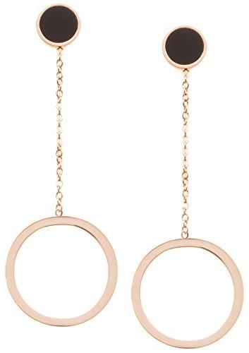 Open Circle Drop Earrings Rose Gold Plated | Delicate Long Earrings with Round Hoop Design (Hoop Delicate Drop)
