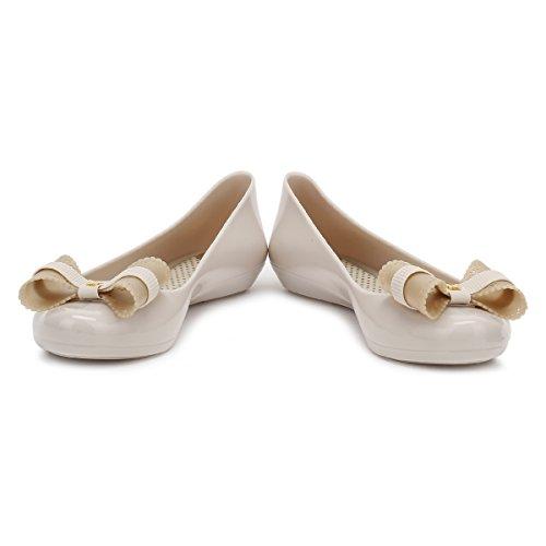 Zaxy Mujer Ivory Bow Pop Charm Ballerina Flats