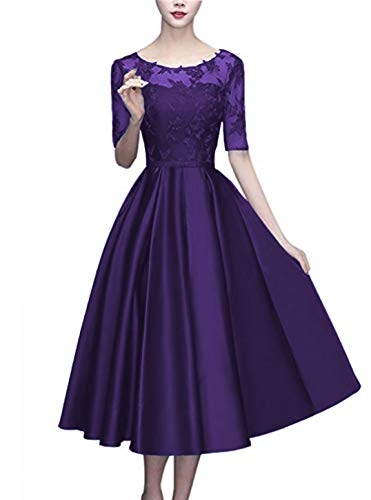 (Scarisee Women's Half Sleeves Tea-Length Cocktail Mother's Dresses Lace Illusion Scoop Evening Party Gown Purple 20W)