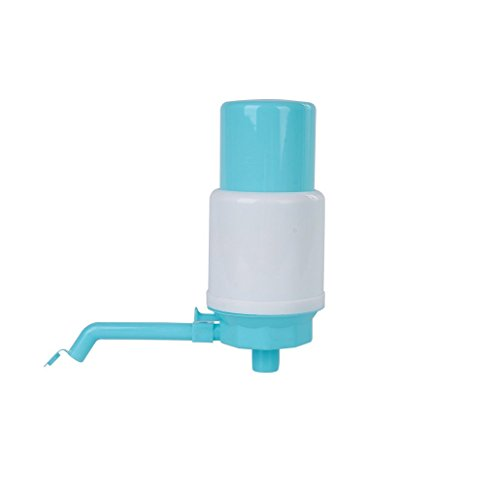 Universal Manual Drinking Water dispenser Pump Fits Any Bottle include fitting adapter cap (light blue)