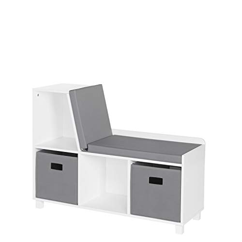 RiverRidge Home 02-172K Book Nook Collection Kids Cubbies with 2pc Bin-Gray Storage Bench, White (Nooks Reading)