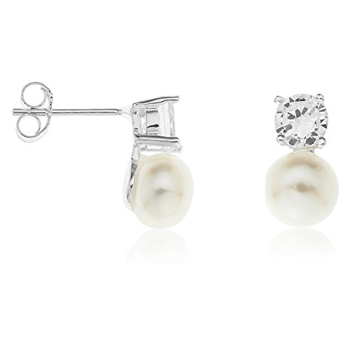 Ornami Sterling Silver Pearl and Cubic Zirconia Pendant and Earring Set with 46 cm Chain xhMVJ