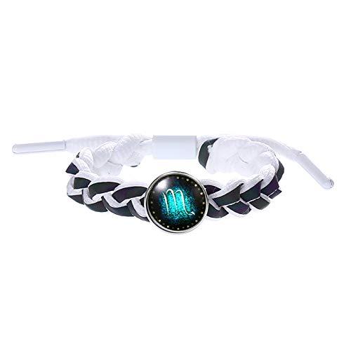 Constellation Bracelet,Haluoo Creative Personalized Glow In The Dark Constellation Coin Bracelet Vintage Handmade Reflective Charms Wide Braided Rope Hand Chain For Friendship Bracelet (Scorpio)