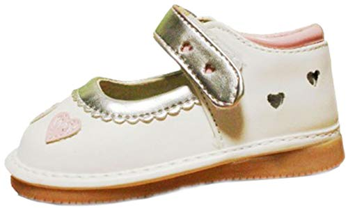 Jiazibb Baby Girls Velcro Leather Lovely Hearts Squeaky Toddler First Walkers Shoes Sneakers (# 2 / Insole Length:120mm, White)