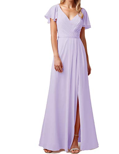 liangjinsmkj Cap Sleeve Chiffon Ruffled Bridesmaid Dresses V Neck Prom Party Evening Gowns Silver US24W