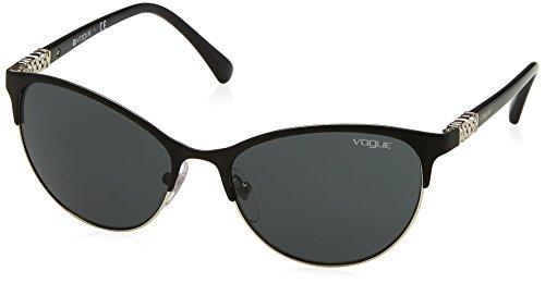 VOGUE Women's Metal Woman Cateye Sunglasses, Matte Black/Silver, 56 - Brand Sunglasses Vogue