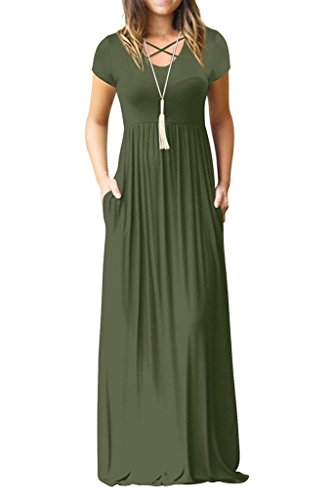 Women's Short Sleeve Maxi Dresses with Pockets Criss Cross Plain Loose Long Dresses Army Green Medium