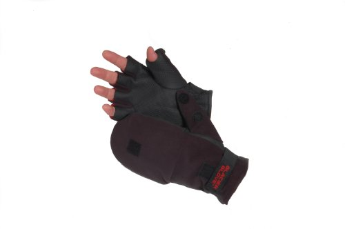 Fleece Glove Mitt - Glacier Glove Alaska River Flip-Mitt Fishing Glove (Black, Large)