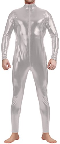 Marvoll Unisex Shiny Metallic Unitard Bodysuit for Kids and Adults (X-Large, Silver) (Superman Leotard)