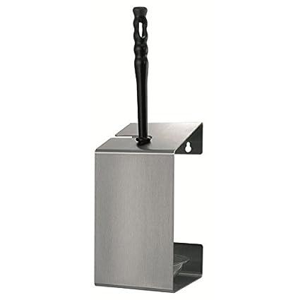 MediQo-line – Dispensador de – Escobillero de WC en Blanco o Acero Inoxidable a
