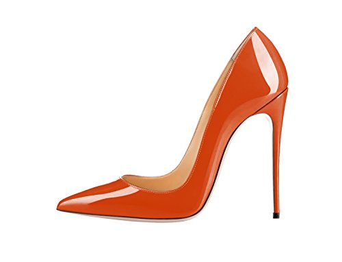 SexyPrey Women's Big Size Patent Stiletto High Heels Pointed Toe Pumps Court Shoes for Party Dress Orange fc45yvM