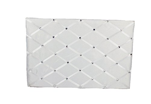 WHITE Wedding Guest Book with Lattice Satin Design and Rhinestone Accents