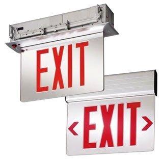 Lithonia Lighting EDGR-2-RMR-EL-M4 Emergency EDGR Series Double Face LED Edge-Lit Exit Sign Brushed Aluminum Housing Red Letter 120/277 Volt ()