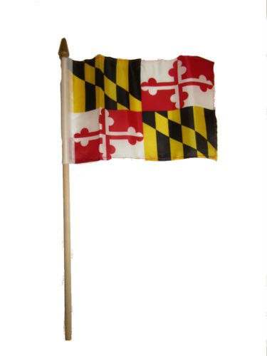 Moon Knives Wholesale Lot of 12 6x9 6''x9'' State of Maryland Stick Flag wood Staff - Party Decorations Supplies For Parades - Prime Outside, Garden, Men Cave Decor Flag -